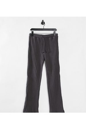 COLLUSION Unisex wide-leg trackies in charcoal jersey knit co-ord-Grey