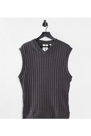 COLLUSION Unisex oversized tank in jersey knit in charcoal co-ord-Grey