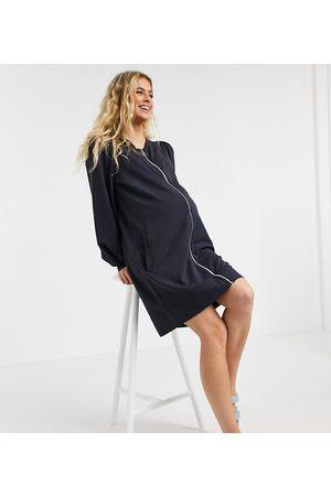 Mama Licious Mamalicious Maternity longline zip-through shacket in dark blue-Navy