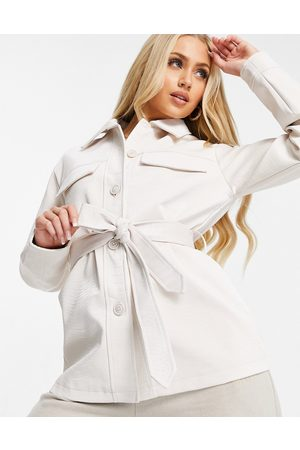 Threadbare Brooke faux leather snake print belted shacket in white