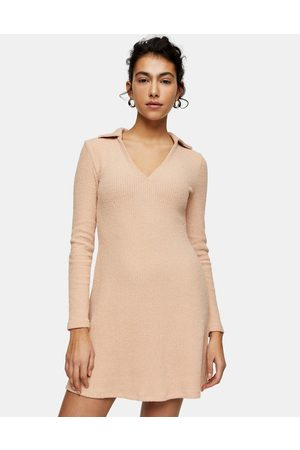 Topshop Collared knitted mini dress in blush-Pink