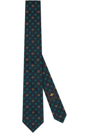 Gucci Interlocking G and clover silk tie