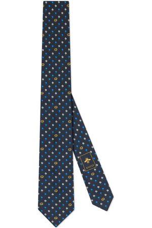 Gucci Men Neckties - Interlocking G and flowers silk tie