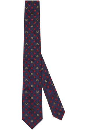 Gucci Men Neckties - Interlocking G and clover silk tie