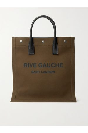 Saint Laurent Noe Leather-Trimmed Logo-Print Canvas Tote Bag