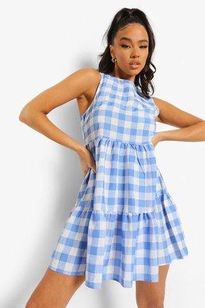 Boohoo Gingham Sleeveless Tiered Smock Dress