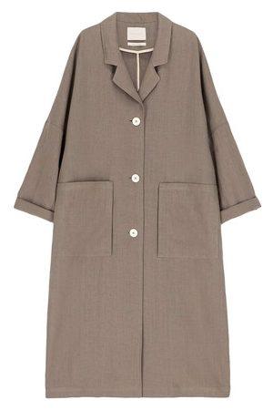 MOMONÍ Courmayer coat in pure solid colour linen