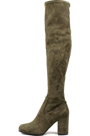 Mollini Women Knee High Boots - Woodroe Khaki Boots Womens Shoes Casual Long Boots