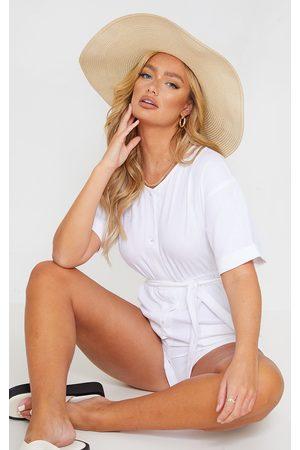 PRETTYLITTLETHING Linen Look Short Sleeve V Neck Shirt Romper
