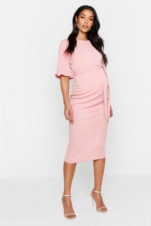 Boohoo Maternity Ruffle Midi Bodycon Dress- Rose