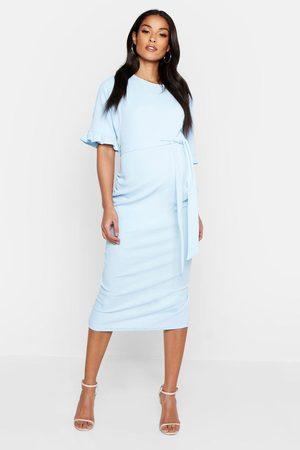 Boohoo Maternity Ruffle Midi Bodycon Dress- Sky