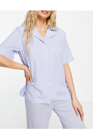ASOS Woven stripe short-sleeved pyjama shirt in blue