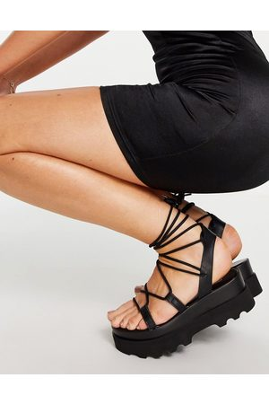 ASOS Trent tie leg flatform sandals in black