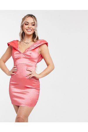 Club L Club L gathered puff sleeve mini dress in coral-Orange