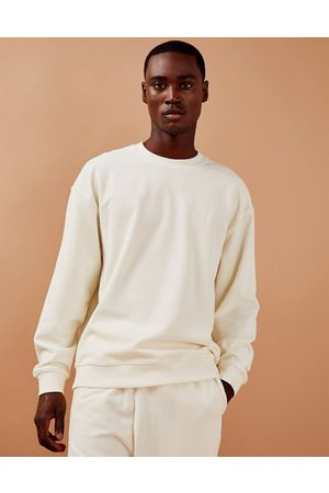Topman Co-ord cord sweatshirt in ecru-White