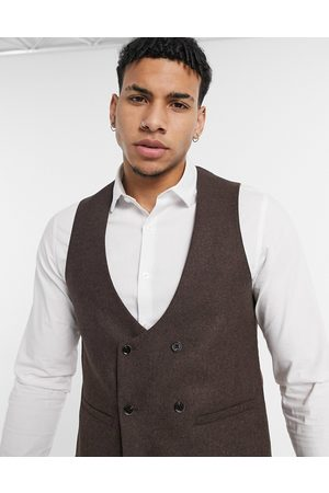 Harry Brown Tall Wedding wool mix slim fit double breasted shawl lapel waistcoat