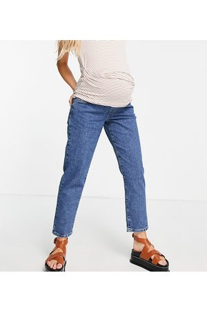 Cotton:On Maternity Cotton: On Maternity underbump stretch mom jean in mid wash-Blue
