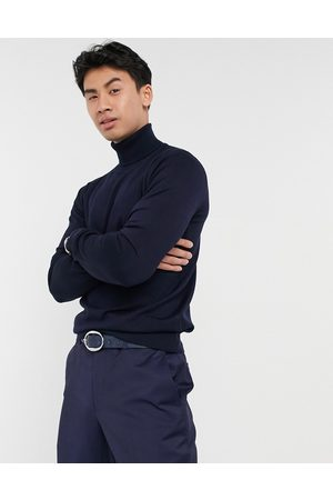 Gianni Feraud Premium muscle fit stretch roll neck fine gauge jumper in navy