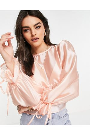 Fashion Union Smock drop with tie sleeves in pink organza