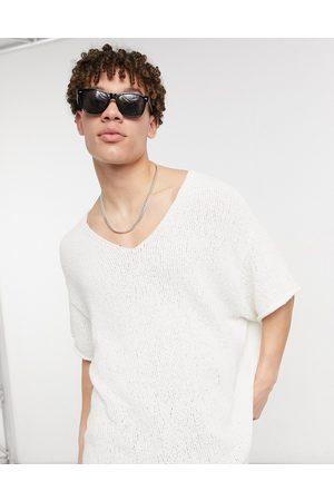 ASOS Oversized textured v-neck T-shirt in off- white-Beige