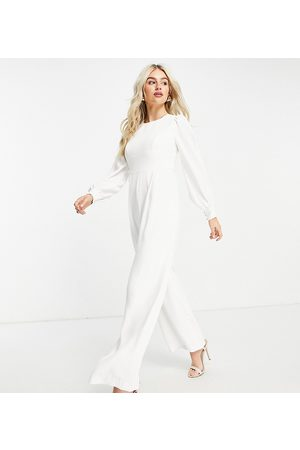 Forever New Backless wide-legged jumpsuit with tie detail in ivory-White