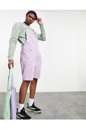 ASOS Short corduroy overalls in purple