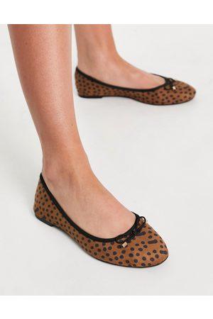 Accessorize Round toe bow ballet flats in leopard-Multi