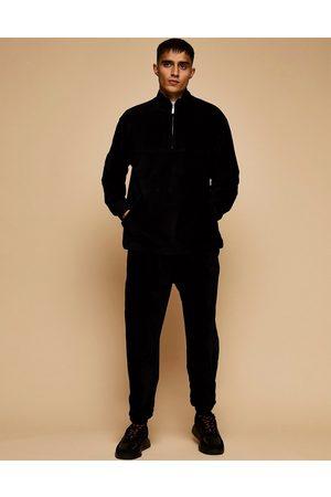 Topman Co-ord cord half-zip sweatshirt in black