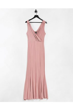 Lipsy London Plunge maxi dress in pink