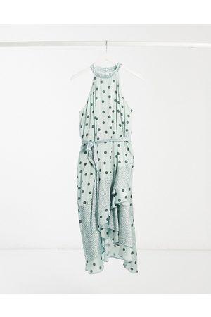 Lipsy London Halterneck satin midi dress with ruffles in green polkadot