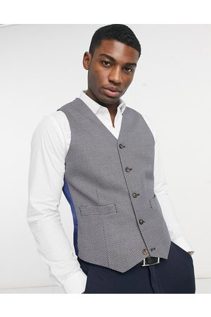 ASOS Slim suit waistcoat in grey birdseye-Tan