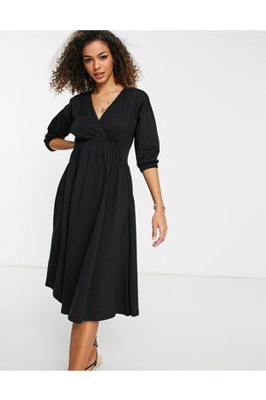ASOS Wrap front midi dress with trim at neckline in black