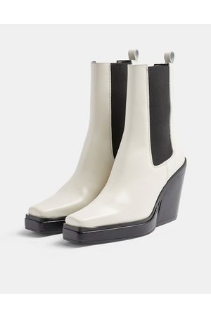 Topshop Hero heeled square toe western chelsea boots in off white
