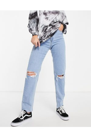ASOS High-rise farleigh 'slim' mom jeans in lightwash with rips-Blue
