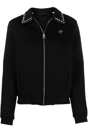 Philipp Plein Logo zipped bomber jacket