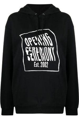 Opening Ceremony Warped-logo cotton hoodie