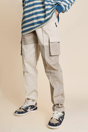 Boohoo Mens Stone Tall Regular Patchwork Twill Cargo Trousers