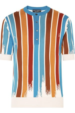 Dolce & Gabbana Vertical-stripe collarless polo shirt