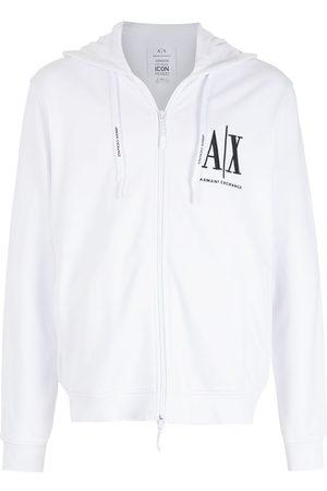 Armani Logo-embroidered zip-up hoodie