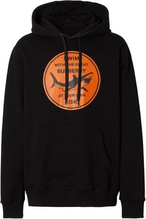 Burberry Men Hoodies - Shark-print cotton hoodie