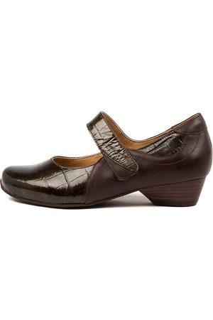 Ziera Women Heels - Cassidy Xw Zr Bronze Choc Shoes Womens Shoes Casual Heeled Shoes