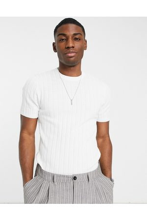 ASOS Knitted muscle fit rib t-shirt in white
