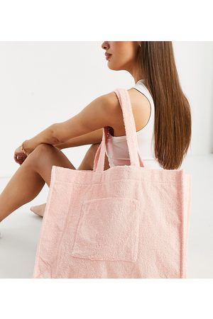 South Beach Towelling tote in peach-Pink