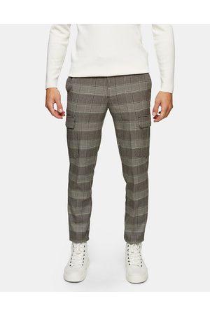 Topman Stretch skinny cargo pants in neutral check-Multi