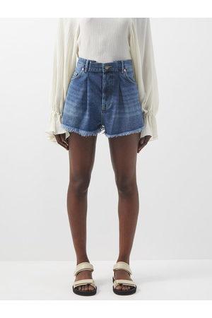 Raey Fold Raw-hem Denim Shorts - Womens - Dark