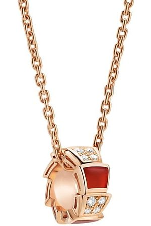 Bvlgari Serpenti Viper 18K Rose Gold, Diamond & Carnelian Pendant Necklace