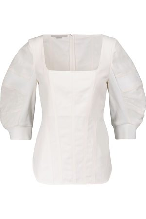 Stella McCartney Cotton and linen-blend blouse