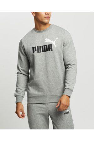 PUMA Essentials+ Two Tone Big Logo Crew Neck Sweater - Sweats (Medium Heather) Essentials+ Two-Tone Big Logo Crew Neck Sweater