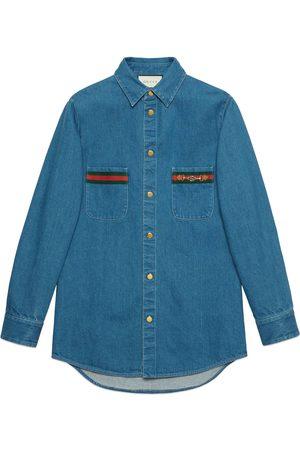Gucci Men Denim - Stonewashed denim shirt with Web