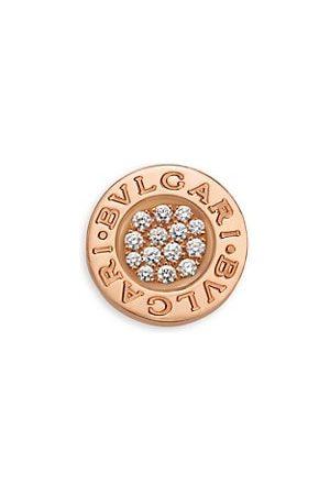 Bvlgari Classic 18K & Diamond Single Round Stud Earring